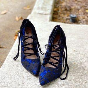 Blue & Black Lace-Up Ballerina High Heels